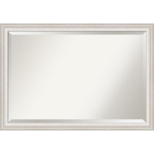 Trio White and Silver 40W X 28H-Inch Bathroom Vanity Wall Mirror