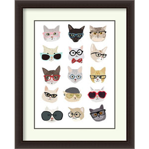 Cats with Glasses by Hanna Melin: 30 x 36-Inch Framed Art Print