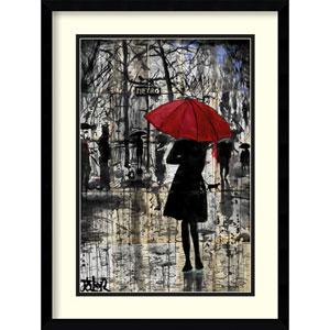 Metro Red Umbrella by Loui Jover: 17 x 23-Inch Framed Art