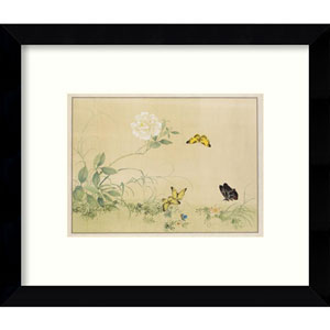 White Rose and Butterflies: 11 x 9-Inch Framed Art