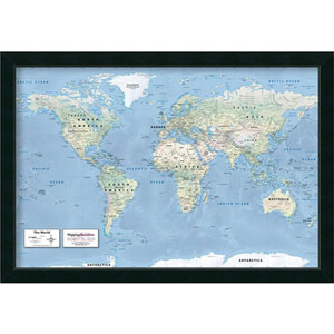2016 World Map Classic Political by Mapping Specialists : 39 x 27-Inch Framed Art