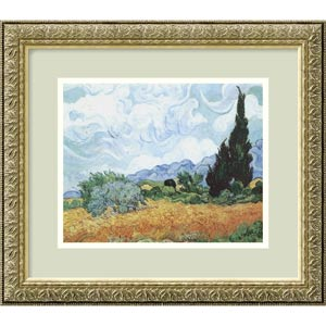 Yellow Wheat and Cypresses by Vincent Van Gogh: 16 x 14 Print Reproduction