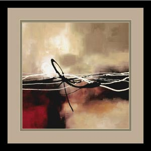 Symphony in Red and Khaki II by Laurie Maitland: 15 x 15 Print Reproduction