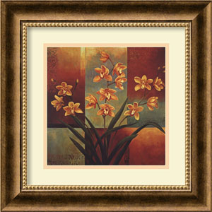 Orange Orchid by Jill Deveraux: 17 x 17 Print Reproduction