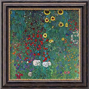 Farm Garden with Sunflowers by Gustav Klimt: 20 x 20 Distressed Black Framed Giclee Canvas