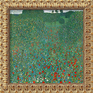 Field of Poppies (Campo di Papaveri) by Gustav Klimt: 19.5 x 19.5 Antique Gold Rococo Framed Giclee Canvas