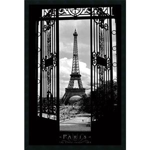 Eiffel Tower 1909: 25.4 x 37.4 Print Framed with Gel Coated Finish