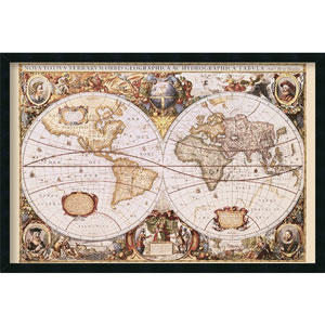 Map Of The World by Hondio & Jansson: 37.4 x 25.4 Print Framed with Gel Coated Finish