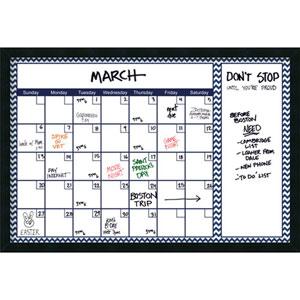 Mezzanotte 38 x 26-Inch Blue Chevron Dry-Erase Calendar