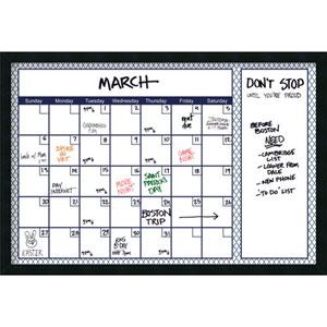 Mezzanotte Blue Quatrefoil 36 x 24 Dry-Erase Calendar