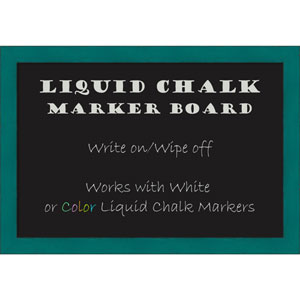 French Teal Rustic, 26 x 18 In. Framed Liquid Chalk Board