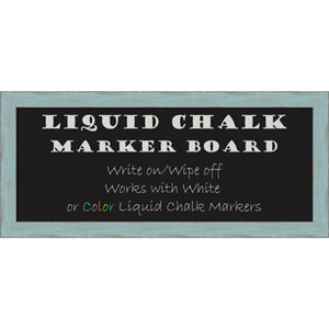 Sky Blue Rustic, 33 x 15 In. Framed Liquid Chalk Board