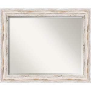 Distressed White Wash 33 x 27-Inch Large Vanity Mirror