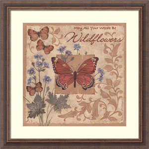 Butterflies and Flowers by Anita Phillips, 23 x 23 In. Framed Art