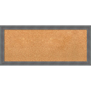 Dixie Grey Rustic, 32 x 14 In. Framed Cork Board