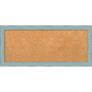 Sky Blue Rustic, 33 x 15 In. Framed Cork Board