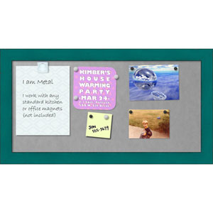 French Teal Rustic, 26 x 14 In. Framed Magnetic Board
