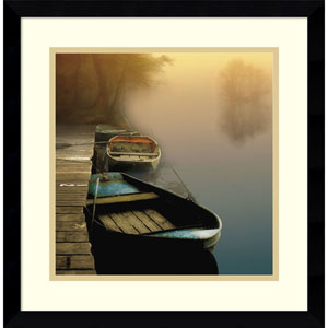 Misty Boats by Steven Mitchell, 17 x 17 In. Framed Art Print