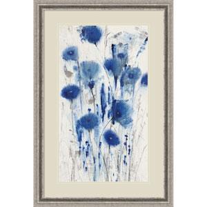 Blue Impressions I (Floral) by Tim OToole, 25 x 37 In. Framed Art Print