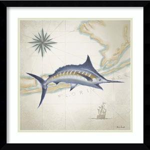 Sailfish Map I by Rick Novak, 21 In. x 21 In. Framed Art