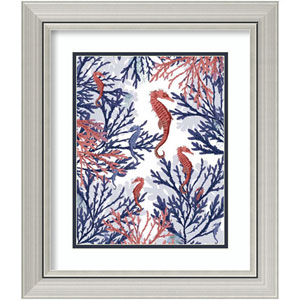 Coral and Seahorse, Pink and Blue by Fab Funky, 19 In. x 22 In. Framed Art