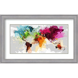 Colourful World Map by Graphinc, 32 In. x 20 In. Framed Art