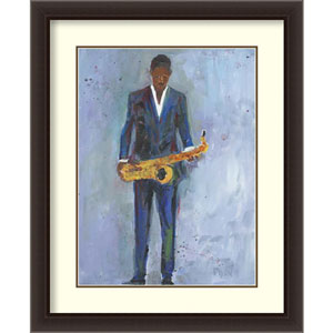 Sax in a Blue Suit by Samuel Dixon, 28 In. x 34 In. Framed Art