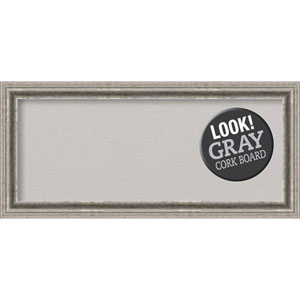 Bel Volto Silver, 33 In. x 15 In. Grey Cork Board