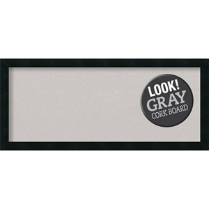 Mezzanotte Black, 32 In. x 14 In. Grey Cork Board