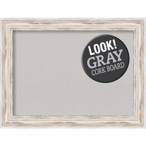 Alexandria White Wash, 33 In. x 25 In. Grey Cork Board