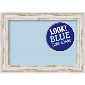Alexandria White Wash, 29 In. x 21 In. Blue Cork Board