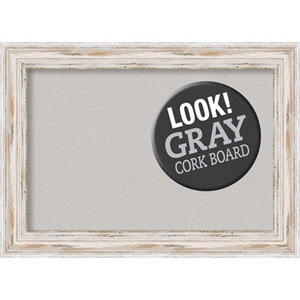 Alexandria White Wash, 22 In. x 16 In. Grey Cork Board