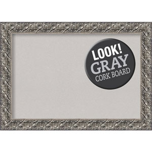 Silver Luxor, 42 In. x 30 In. Grey Cork Board