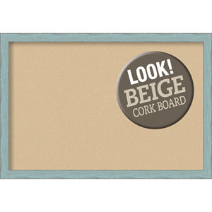 Sky Blue Rustic, 39 In. x 27 In. Beige Cork Board