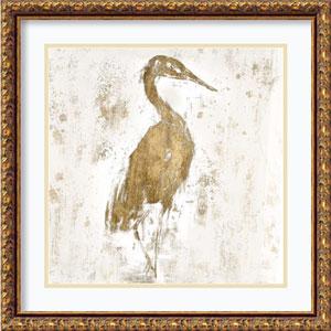 Gilded Heron I by Jennifer Goldberger, 22 In. x 22 In. Framed Art