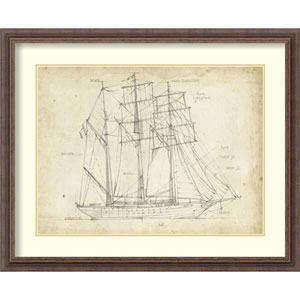 Sailboat Blueprint I by Ethan Harper, 32 In. x 26 In. Framed Art