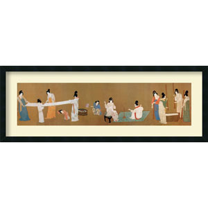 Court Ladies Preparing Newly Woven Silk by Emperor Huizong: 16 x 44 Print Reproduction Wall Art