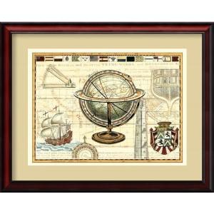 Nautical Map II by Deborah Bookman: 31 x 25 Framed Art Print