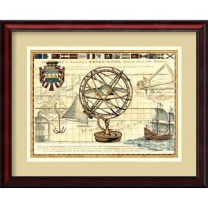 Nautical Map I by Deborah Bookman: 31 x 25 Framed Art Print