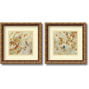 Singing, Gold Frame by Asia Jensen: 13.88 x 13.88 Print Reproduction, Set of Two
