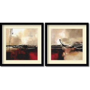 Symphony in Red and Khaki by Laurie Maitland: 32.63 x 32.63 Print Reproduction, Set of Two