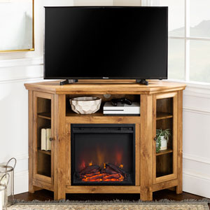 48-inch Corner Fireplace TV Stand - Barnwood