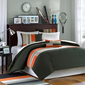 Pipeline Green and Orange Three-Piece Twin Extra Long Comforter Set