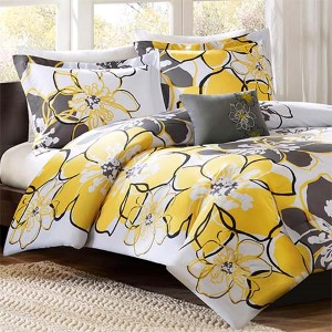 Allison Yellow and Grey Three-Piece Twin Comforter Set