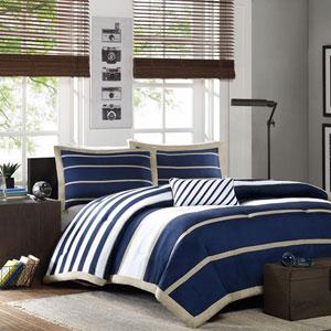 Ashton Blue Three-Piece Twin Comforter Set