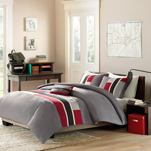 Pipeline Red Three-Piece Twin Comforter Set