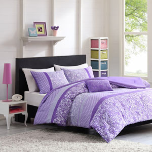 Riley Purple Three-Piece Twin Comforter Set