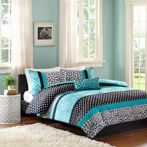 Chloe Blue Three-Piece Twin Comforter Set