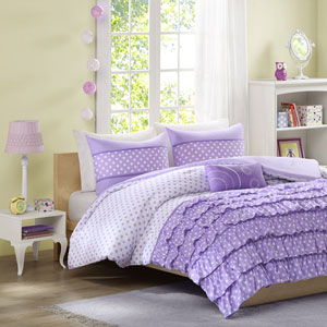 Morgan Purple Three-Piece Twin Comforter Set