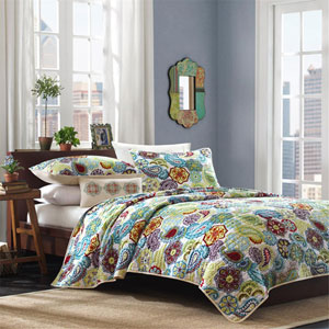 Tamil Multicolor Three-Piece Twin Coverlet Set